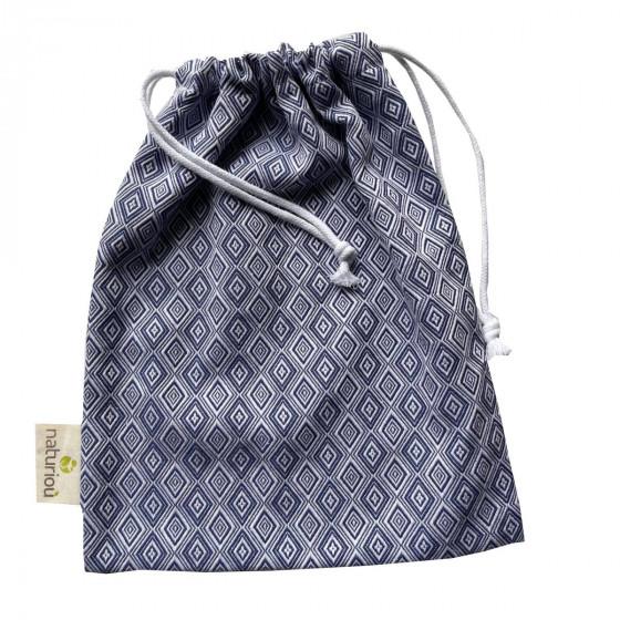 Naturioù Diamant Bleu - Sac à cordon en coton tissu jacquard