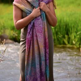 Yaro Slings Ava Trinity Sienna Rainbow Linen - Ring Sling
