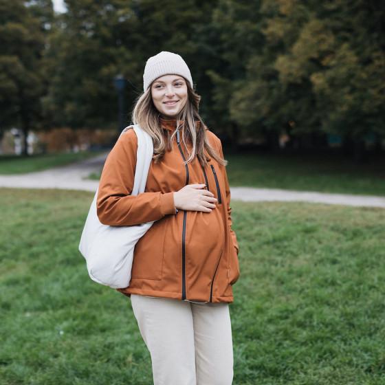 Love and Carry Veste 4 en 1 de Portage et de Grossesse Softshell Paprika portez bébé dès la naissance jusqu'à 18 mois
