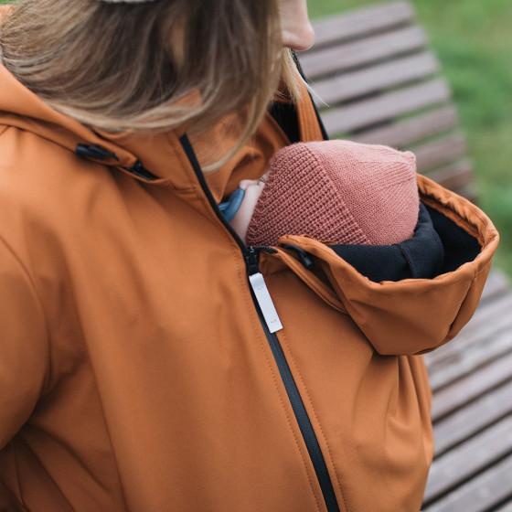 Love and Carry Veste 4 en 1 de Portage et de Grossesse Softshell Paprika insert avec capuche pour le portage de bébé