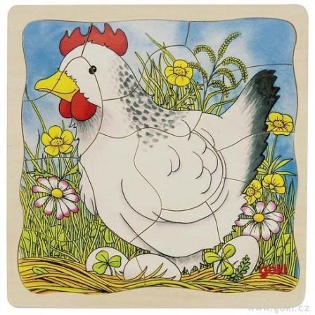 Puzzle à couches en bois La poule par Goki