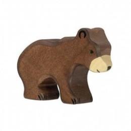 Petit ours brun en bois Holztiger