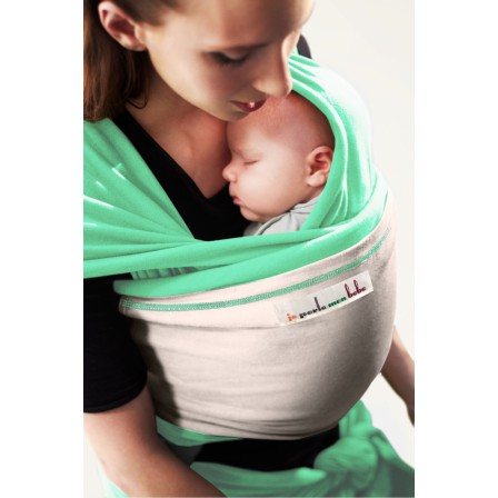 Echarpe Je porte mon bébé Vert Azur poche Ecru
