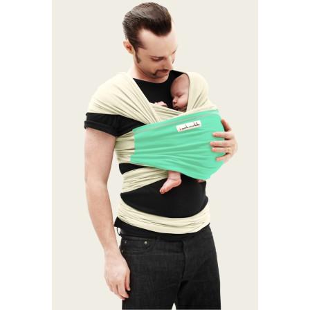 Echarpe ergonomique de portage Jpmbb Ecru poche vert azur