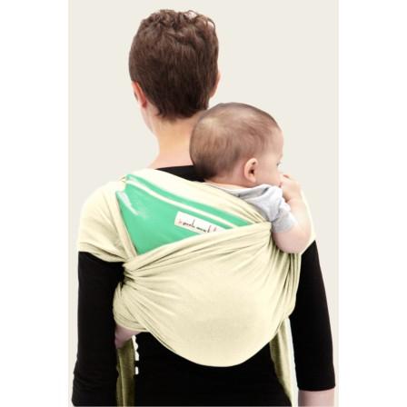 Echarpe physiologique Je porte mon bebe Ecru poche vert azur