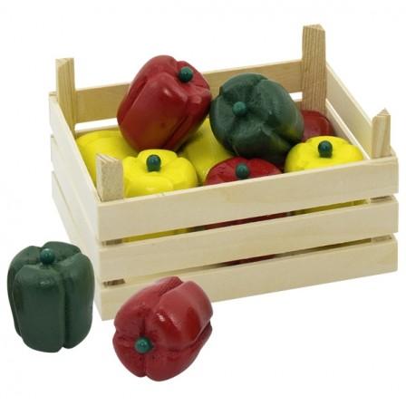 Cagette de poivrons en bois Goki