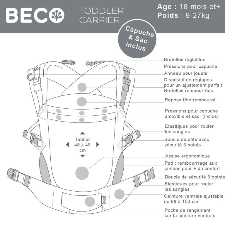 caractéristiques porte-bébé Beco Toddler Sail