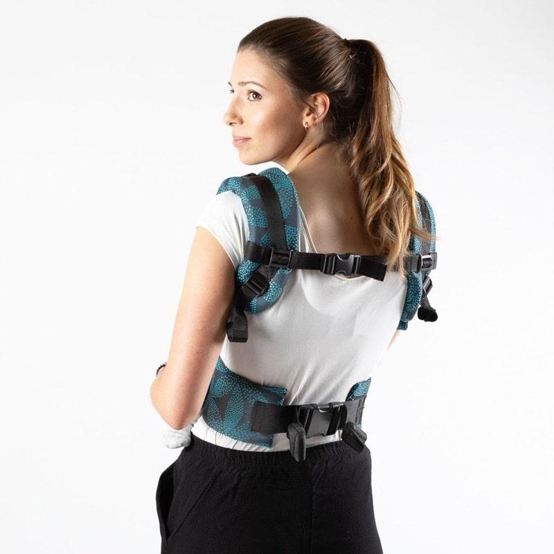 Vue arrière des bretelles et ceinture ventrale du Emeibaby Easy Babysize - porte-bébé physiologique