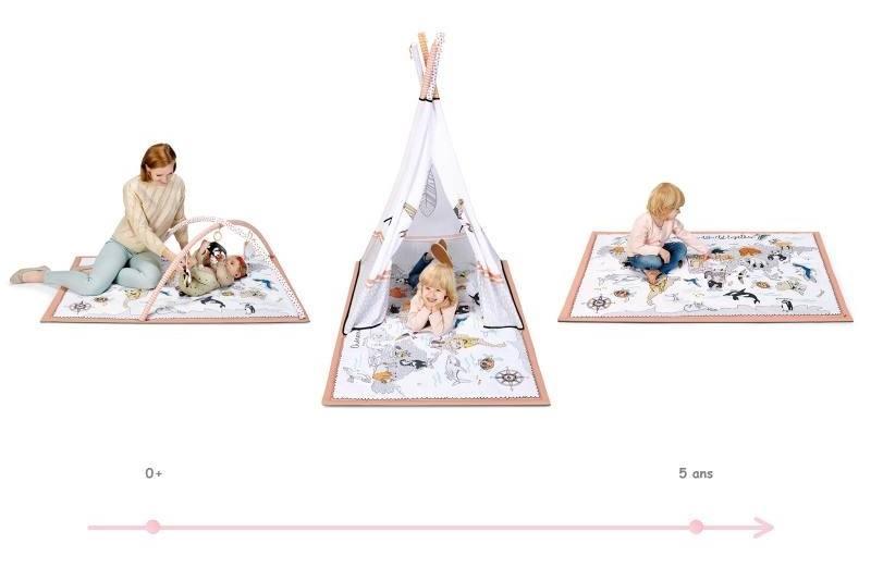 Kinderkraft Tippy tapis éducatif avec tente tipi 0-5 ans