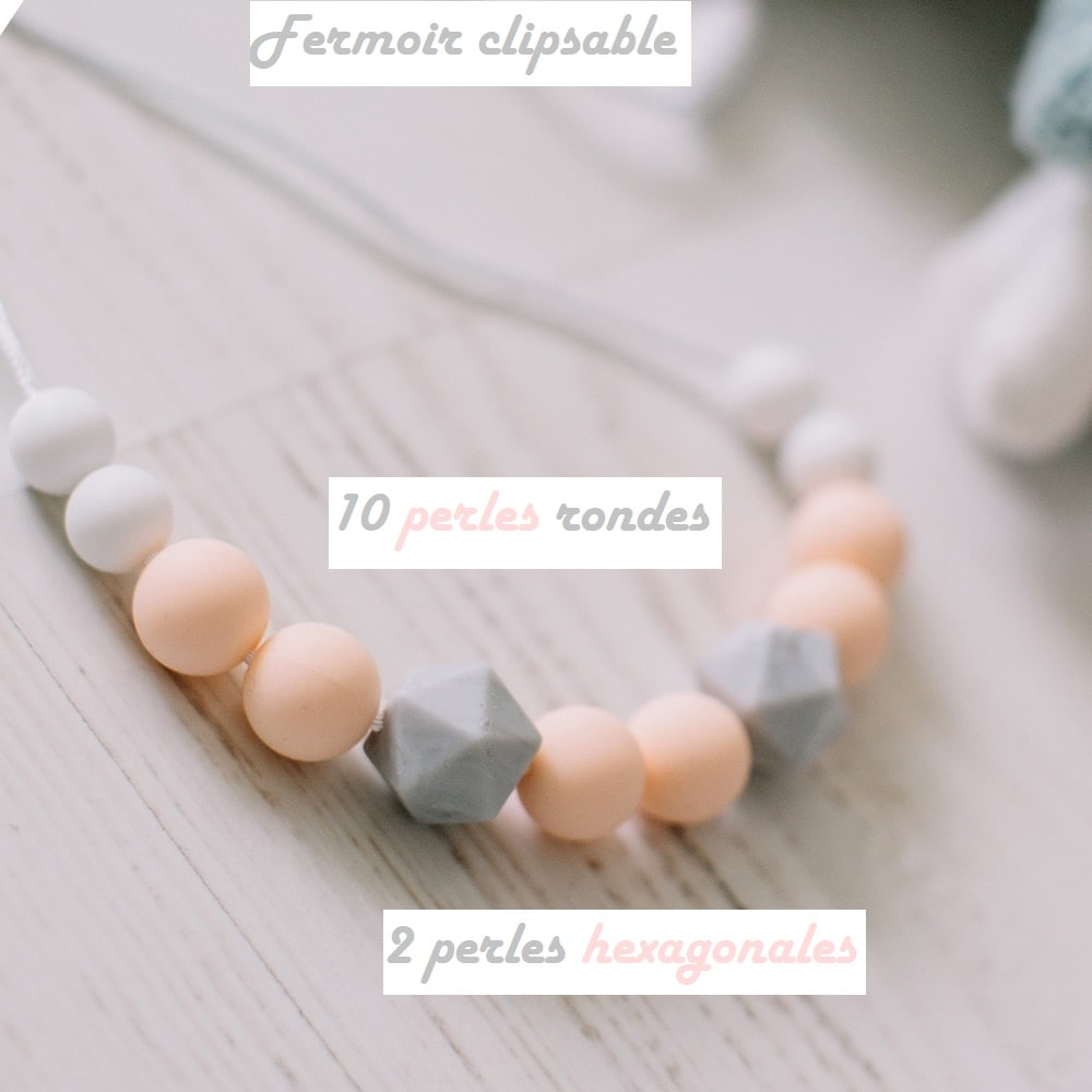 Love and Carry Peach Collier portage en silicone alimentaire détail