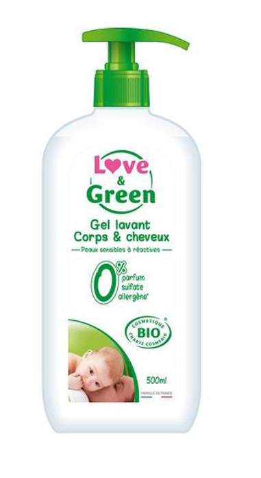 gel lavant corps et cheveux love and green
