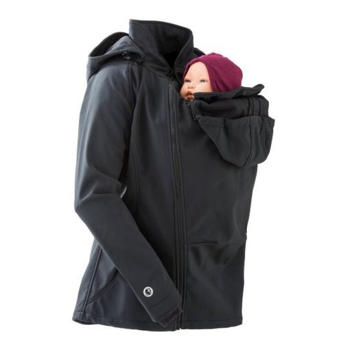 Veste de portage et de grossesse toute saison femme en softshell montrée avec insert de portage sur le ventre