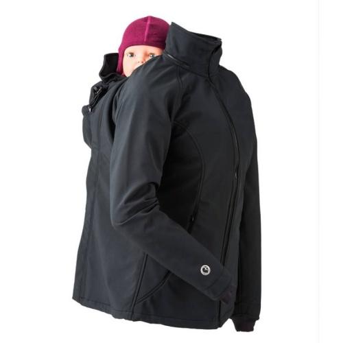 Veste de portage et de grossesse toute saison femme en softshell montrée avec insert de portage sur le dos