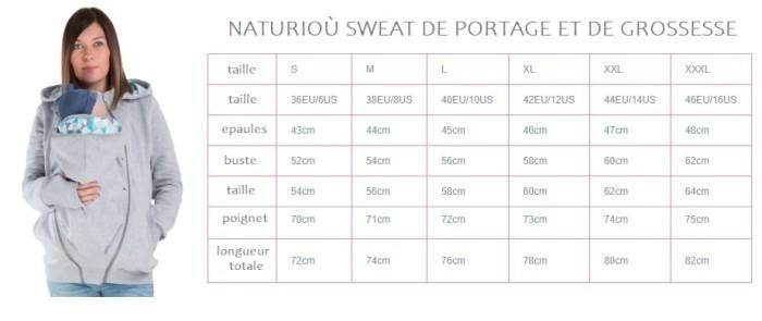 Naturioù sweat de portage et de grossesse Tailles disponibles