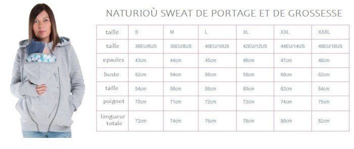 Naturioù sweat de portage et de grossesse tailles