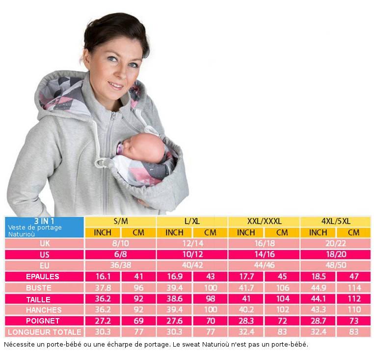 Guide des tailles pour sweat de portage porte-bébé