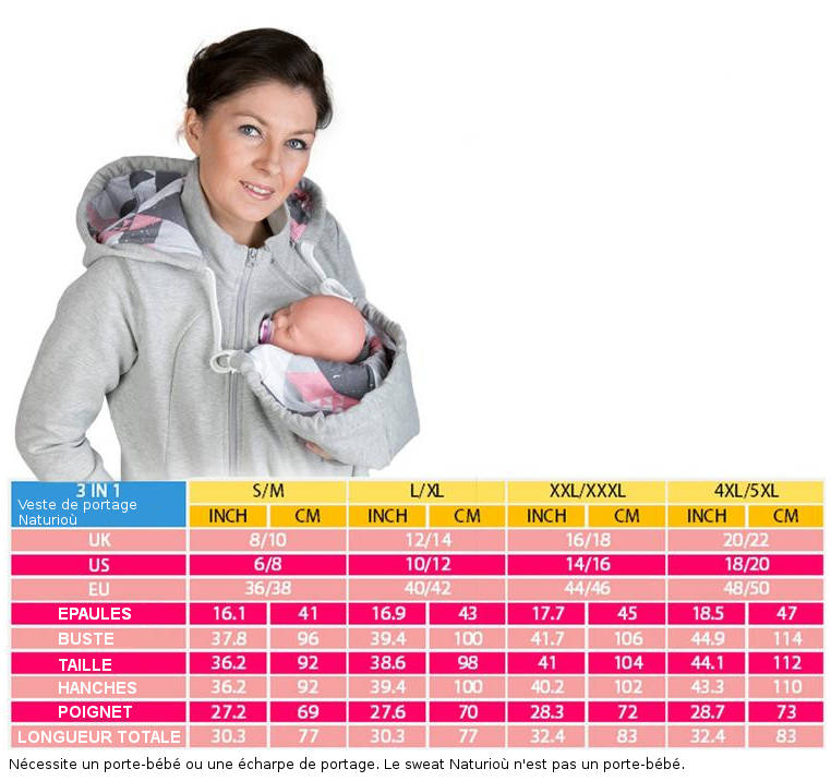 Sweat Naturiou taille correspondance