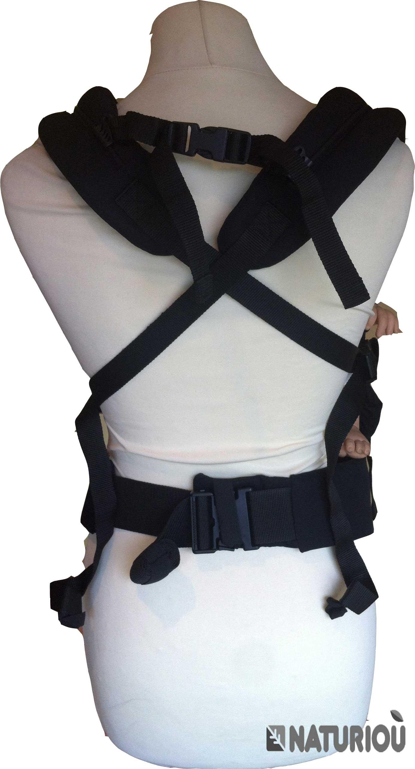Croiser les bretelles de votre porte-bébé physiologique pour assurer plus de maintien