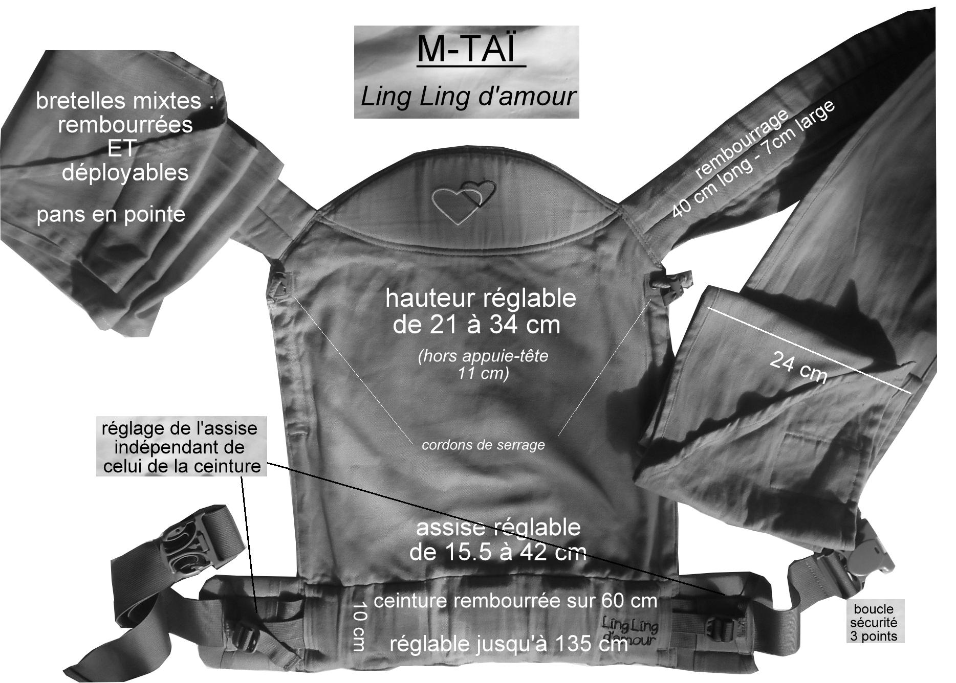 Mesures, tailles et mensurations du porte-bébé m-taï de strochenwiege.