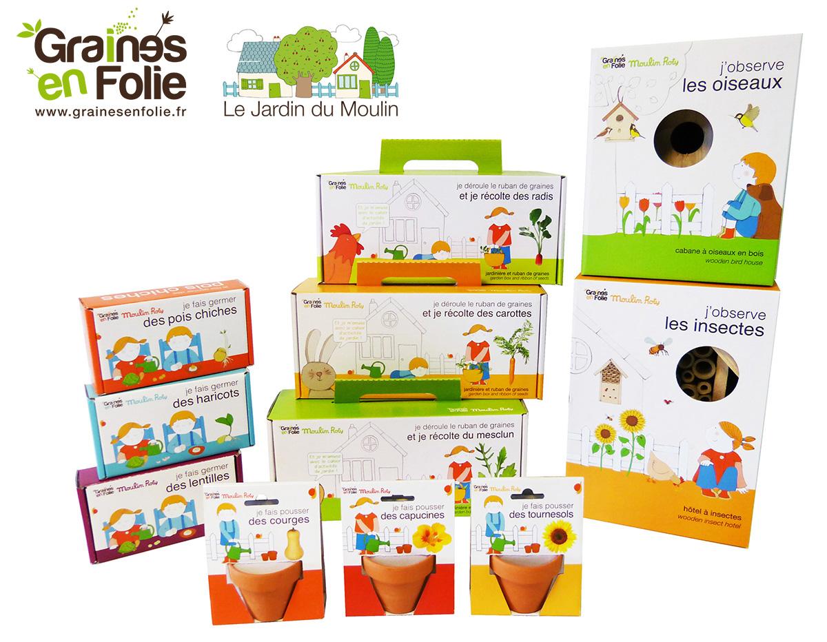La gamme pour enfant de graines en folies et le jardin de moulin Roty